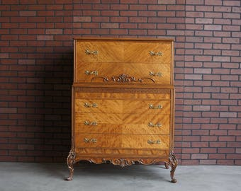French Provincial Tall Chest / Highboy Dresser / Tall Chest of Drawers / Antique Tall Chest