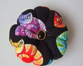 Pincushion CAT FABRIC. Great for a sewing gift - bright cats. small round cushion for pins. Australian made. cat lover gift. pins holder