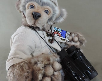 "Artist Teddy Bear, Nelson the safari Bear, OOAK Tissavel faux fur, needle felted face, collectible, handmade teddy, fully jointed, 14"" tall"