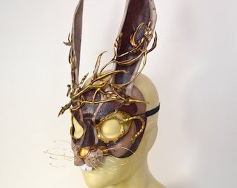 Made To Order Steampunk March Hare Leather Rabbit Alice in Wonderland Cosplay Mask
