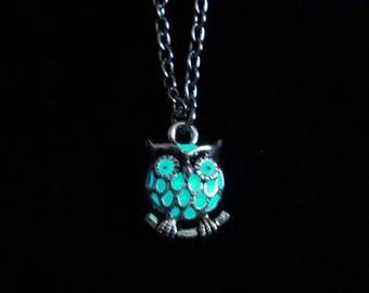 Tiny Owl Charm Necklace Glow In The Dark Antique Silver (glows aqua blue)