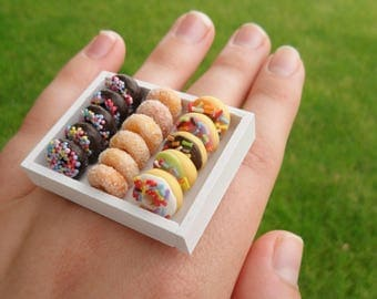 Food Rings - Tray of Doughnuts (Chocolate With Sprinkles, Powdered Sugar, and Multi-Colored)
