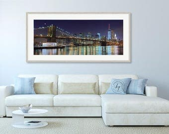 NYC Photography, Brooklyn Bridge Panorama, Black & White New York City Skyline Photo, Large Wall Art, Lower Manhattan Night Print, Cityscape