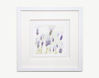 French Lavender Watercolour Framed Glicée Print 01