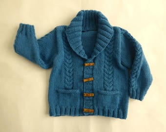 Baby hand knit cardigan, boy's blue sweater, baby cabled sweater, knitted baby cardigan, toggle sweater, baby knitwear, knit baby clothes