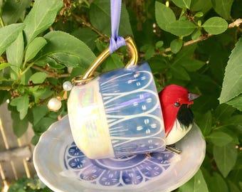 Repurposed Bird Feeder, Tea Cup Bird Feeder, Espresso Cup, Hanging Garden Accent, Kitchen Decor, Recycled Jewelry Craft, Upcycled Vintage