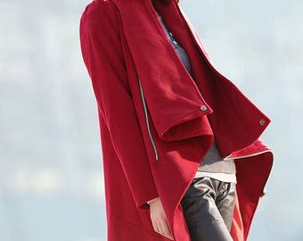 Winter coat, jacket, winter coats for women, red coat, winter coat, coat, womens coats, womens jackets, wool coat, Asymmetrical coat  C179