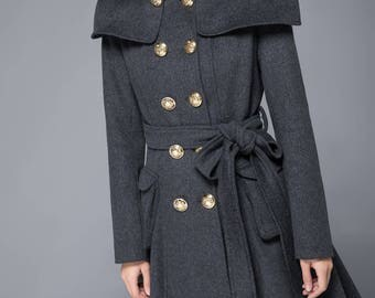womens coat, wool coat, maxi coat, gray coat, double breasted coat, winter coat, women winter coat, vintage coat, winter wool coat C1220