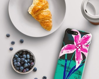 iPhone 8 plus case personalized, Tropical iPhone cover, Hot pink and turquoise, Floral lillies, For Her Fits 5/5s/SE/6/6s/7/8/X/Plus (1737)