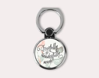 Fearfully and wonderfully made - Bible quote Ring Stand phone finger holder - Cell kickstand - Universal finger grip - Gift for Christian