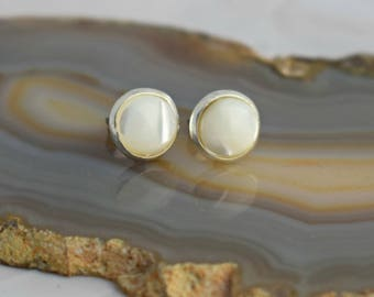 Pearl Studs - Mother of Pearl Studs - Small Cream Earrings - June Birthstone Earrings - Mother of Pearl Earrings - Wedding Jewellery -