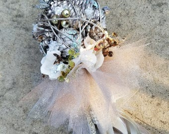 Winter Silver Pine Cone Tutu Flower Girl Pom Wand