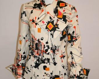 Splatter Print Vintage 1970s Blouse, Vintage Tops, 1970s Dress Blouse