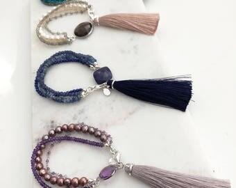 Silver Goddess Multi Strand Bracelet with Tassel