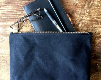 Large Waxed Canvas Pouch - Black