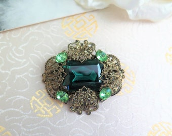 Vintage Green Czech Brooch - Vintage Faux Emerald Brooch - Vintage Filigree Brooch - Bohemian Brooch - 1950s Brooch - Gift for Her - Emerald