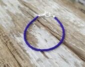 cobalt blue bracelet ocean beach surf simple seed bead jewellery