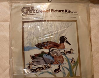 "1977 Columbia-Minerva Crewel Kit - ""Blue Winged Teal"" - Kit No. 7855 - Complete - 16x16 - Partial Split Seam on Top - Hallmark Cards Inc"