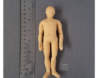 1:12 Scale 6 inch Man 15 cm. Posable miniature mannequin cloth doll body dollhouse dad. One inch scale man. Bendy plush doll ready to dress