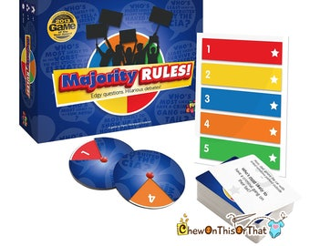 Majority Rules How Will You Respond Board Game, Family Game Night, Drinking Games, Dinner Parties, Camping Trips, Debate and Vote, Voting