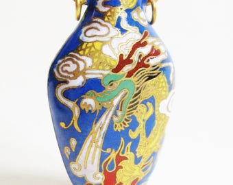 ASIAN Antique Gold Blue Green Rust DRAGON Cloisonne Enamel Chinese Export Urn Vase Pendant Charm Chinoiserie Edwardian Deco Artisan Jewelry
