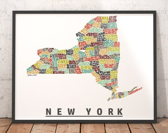 New York Map Etsy - Map if new york