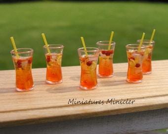 Miniature Dollhouse Cherry Orange Summer Drink 1:12