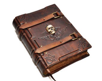 Brown leather journal, Book of Solomon, Medieval style, Book of Dead, Wiccan notebook, Aged paper, Book of spells, necronomicon leather