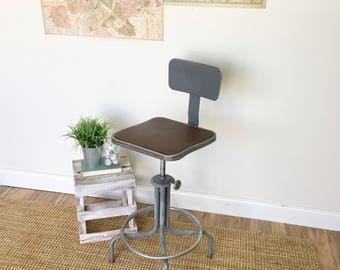 Industrial Counter Stool   Vintage Industrial Furniture   Adjustable Shop  Stool   Swivel Counter Chair