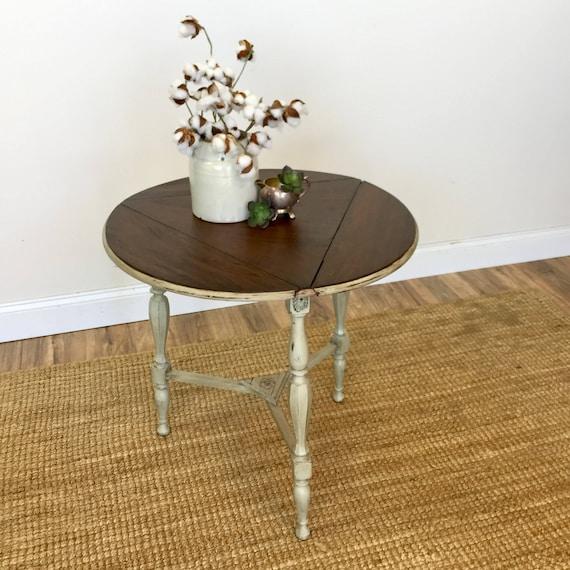 Round Side Table - Vintage End Table - Antique Side Table - Night Table - Distressed End Table - LivingRoom Furniture - Drop Leaf End Table