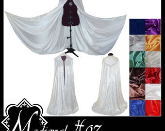 White Crushed Velvet Cloak lined with a Shimmer Satin of your choice. Ideal for LARP Medieval Costume Wedding Handfasting. Made To Measure.