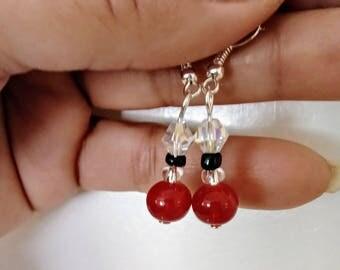 Orange Agate Glass Dangle Handmade Earrings