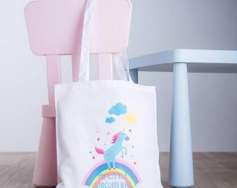 My Little Unicorn Tote Bag - Unicorn Bag - Child's Sleepover/Toy Bag - Rainbow and Unicorn Tote Bag