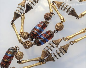 Foil Glass Bead Brass Necklace