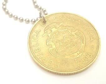 2003 Costa Rican Coin Necklace with - Stainless Steel Ball Chain or Key-chain - Costa Rica