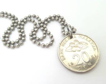 1991 Malaysian Coin Necklace  - Stainless Steel Ball Chain or Key-chain - Hibiscus