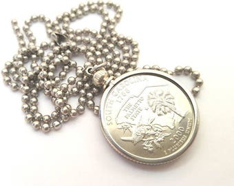 South Carolina State Quarter Coin Necklace with Stainless Steel Ball Chain or Key-chain - 2000