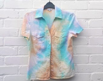 Pastel Tie Dye Rainbow Shirt to fit UK size 8 or US size 4 Festival LGBT Kawaii Clothing Christmas Gift
