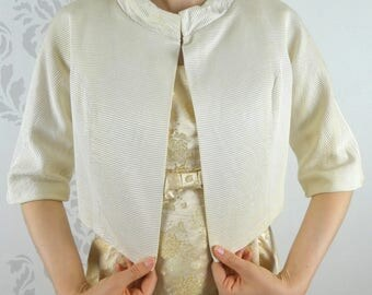 VINTAGE CREAM JACKET 1950s Cropped Faille Size Small