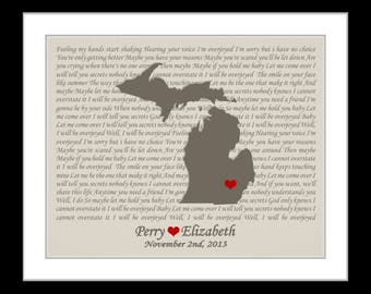 State map, gifts for couple, wedding song lyric art ,wedding vow print, wedding map gift, script lyrics on any map, michigan, brown tan, mi