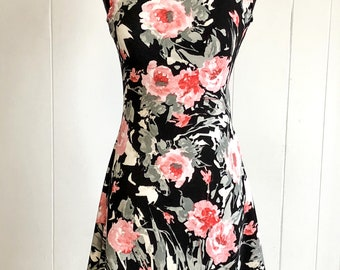 Pink, Gray, and Black Abstract Watercolor Floral Sundress