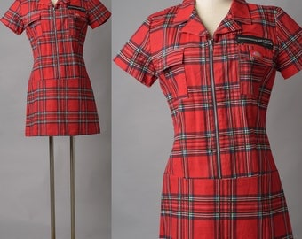 Vintage Red Dress, 80s 90s dress, Red Plaid Dress, Vintage mini dress, Dickies Dress, Red Mini Dress - L/XL