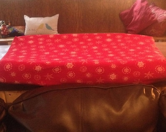 Baby changing pad cover in fun Holiday fabrics