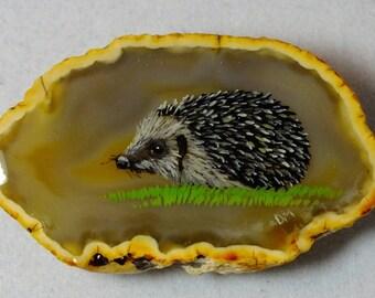 Hedgehog Agate Brooch