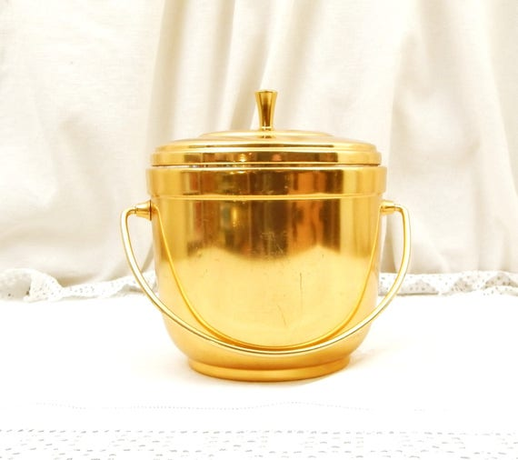 Vintage French Mid Century Gold Colored Anodized Aluminum Ice Bucket by Thermid Paris, 1960s Cocktail Ice Cube Barrel,  Barware France