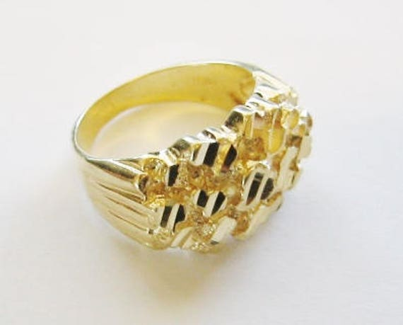 14KT Solid Yellow Gold,  Men's Super Wide Nugget Ring....7.8 Gams 1/2 Inch Thick.