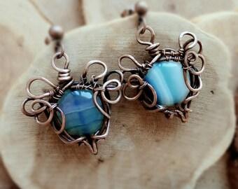 Copper Wire Wrapped blue agate earrings Delicate earrings Dangle earrings Gift for her, gift for mom or sister, boho earringsstone earrings.