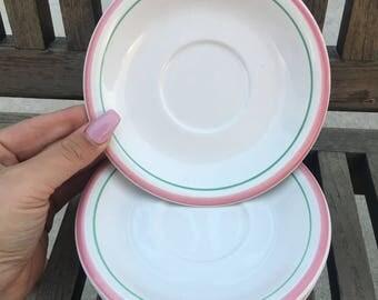Vintage Pink and Mint Rim Stoneware Dessert Plates (Japan) 4 piece
