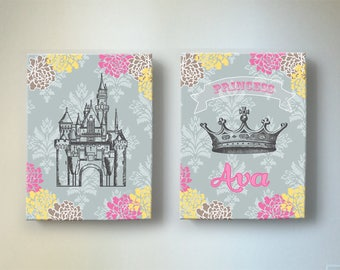 Princess Castle and Crown Wall Art Set - Baby Girls Room or Nursery Decor, Pink and Gray Toddler Girl Room Decor