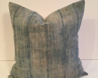 22 inch VERY Faded African indigo mudcloth pillow cover / boho pillow cover